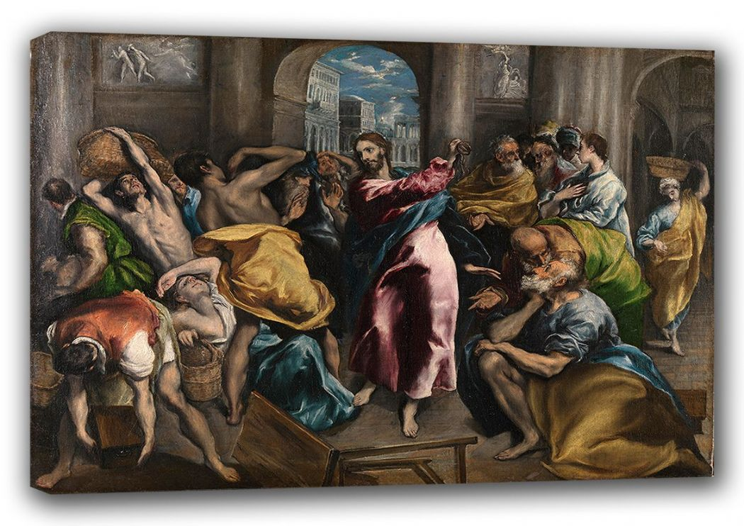 El Greco (Domenico Theotocopuli): Christ Driving the Traders from the Temple. Religious Fine Art Canvas. Sizes: A3/A2/A1. (00157)